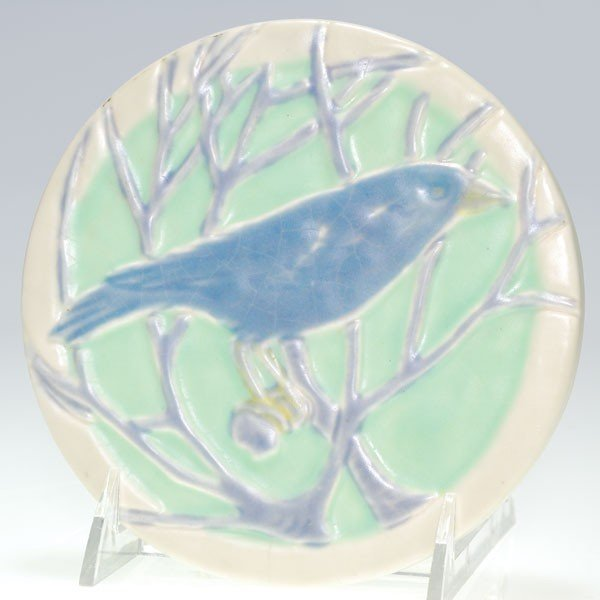 1018: Rookwood circular trivet, blue bird, 1925, 2249
