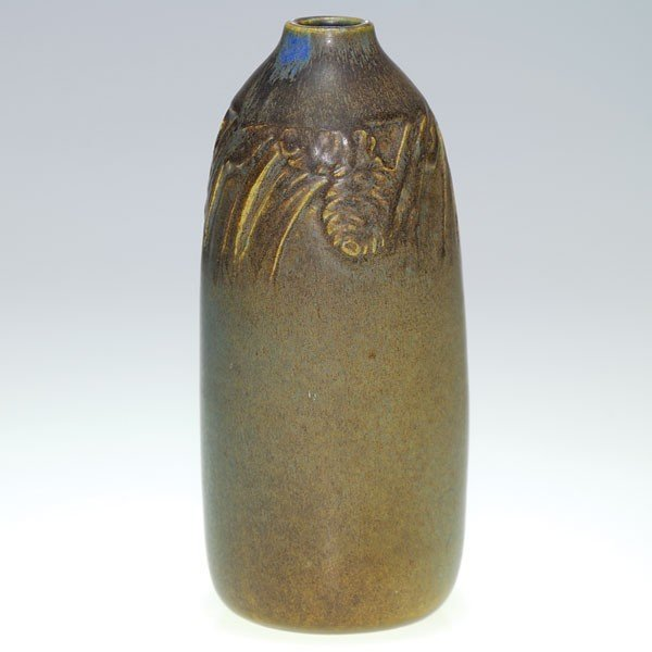 "1022: Rookwood 6 7/8"" production vase, 1911, pinecones,"