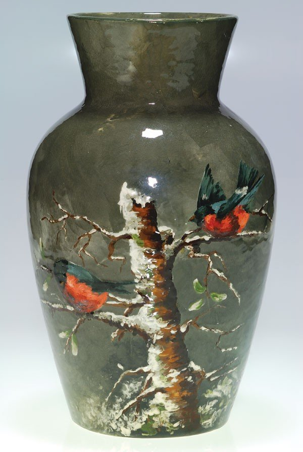 1123: Rookwood Limoges vase, birds in tree, ARV, 1882