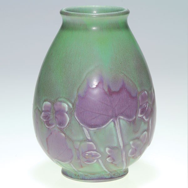 "1419: Rookwood two color production 5"" vase, violets"