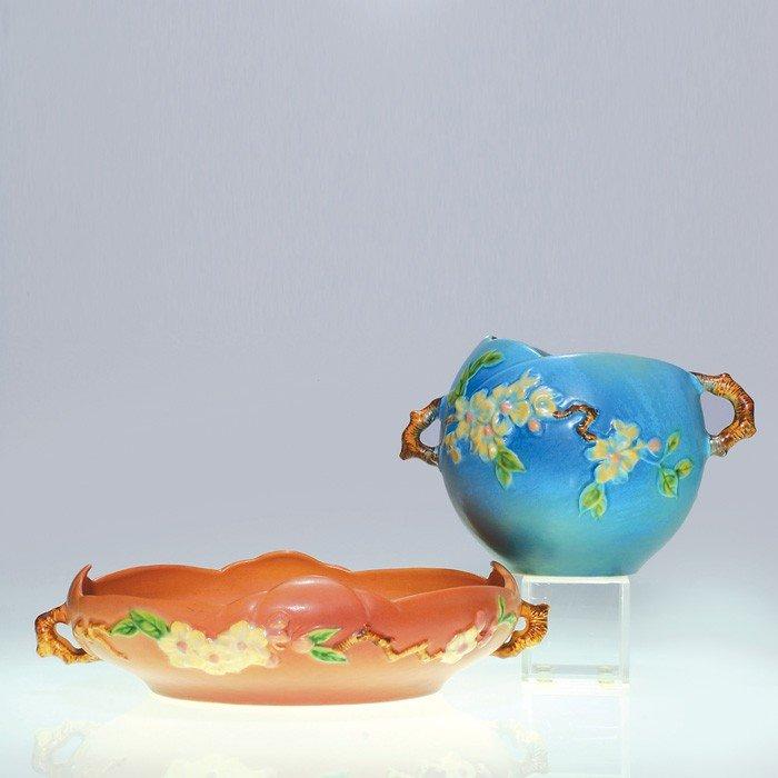 1: Roseville Apple Blossom vase #342-6 & bowl 330-10