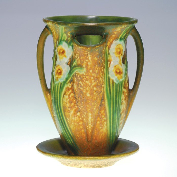 """2: Roseville Jonquil strawberry pot, shape 96-7"""""""