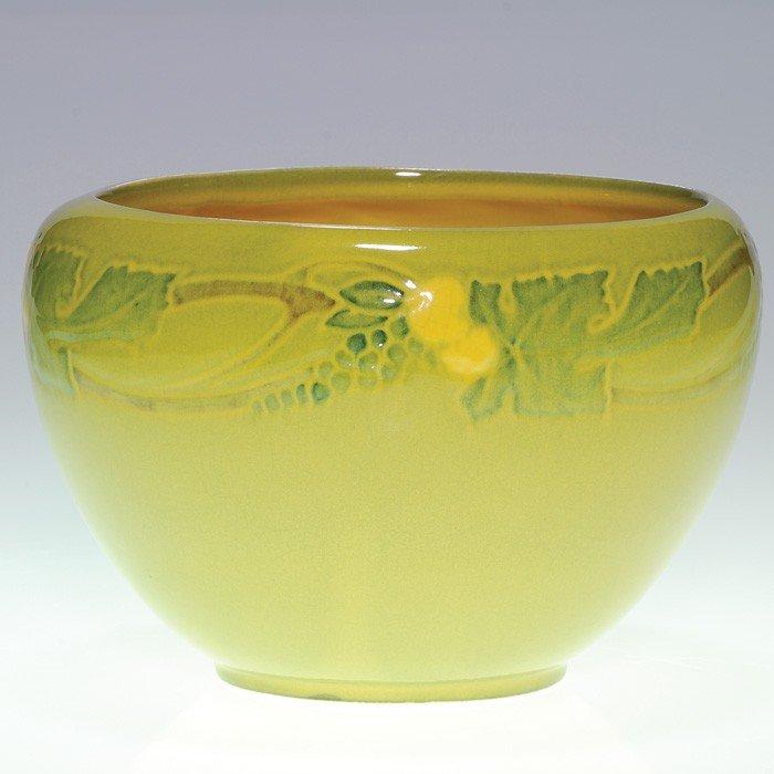 "5: Roseville Victorian Art vase, yellow high glaze, 5"""
