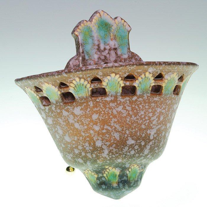 7: Roseville Ferella wall pocket in brown, shape 1266-6