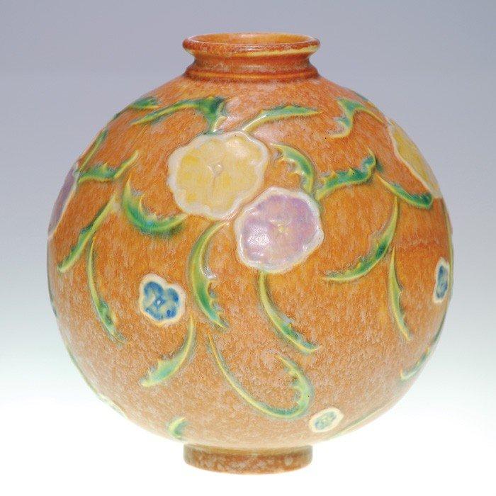 """9: Roseville lamp vase, no fittings, 8 1/2"""""""