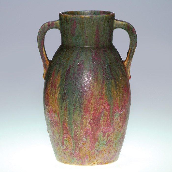 10: Roseville Carnelian II twin handled vase, shape 444
