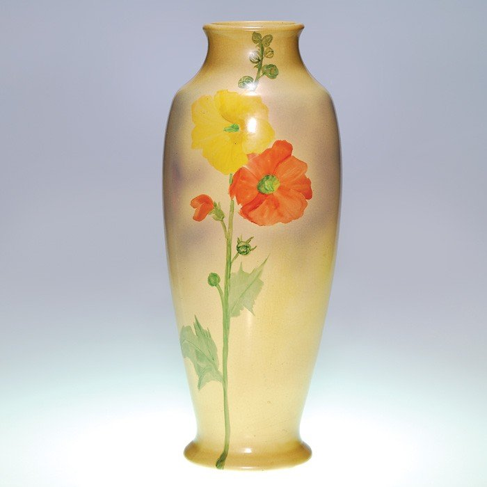 "12: Tall Roseville Pauleo vase, hollyhocks, 17 3/4"""