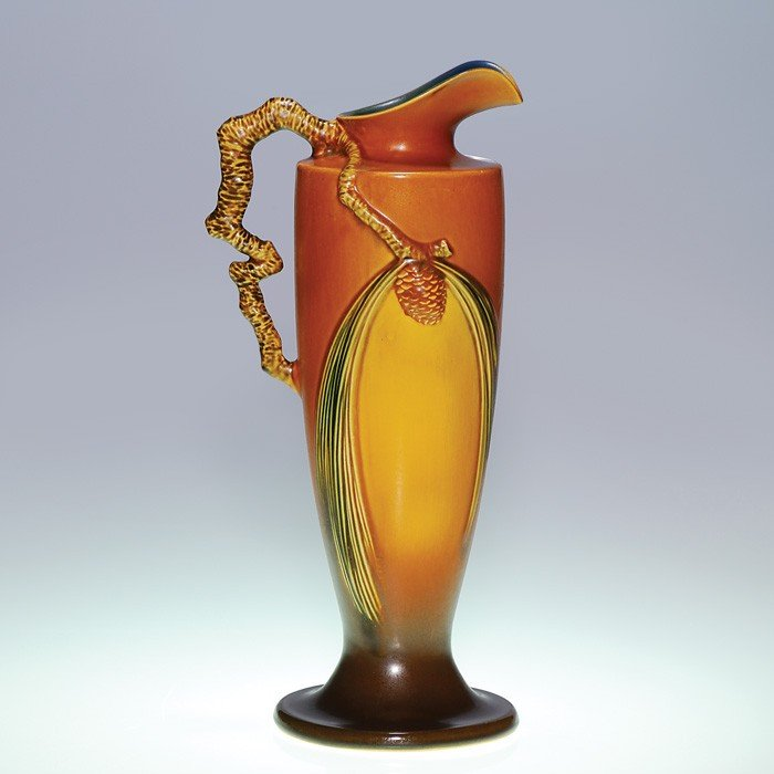 """13: Roseville Pine Cone pitcher in brown, shape 851-15"""""""