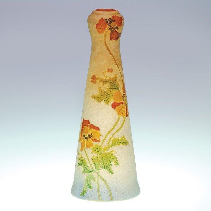 "19: Roseville Woodland 10 7/8"" vase, poppies"
