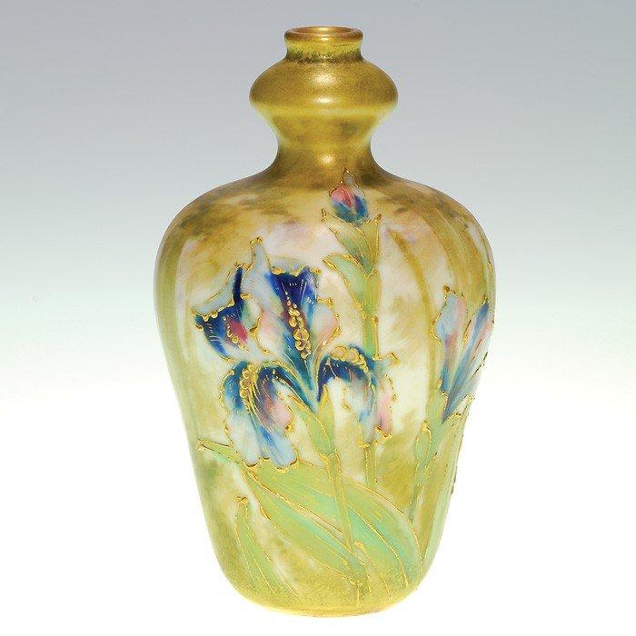"369: RSt&K Amphora 5 1/2"" vase, irises"