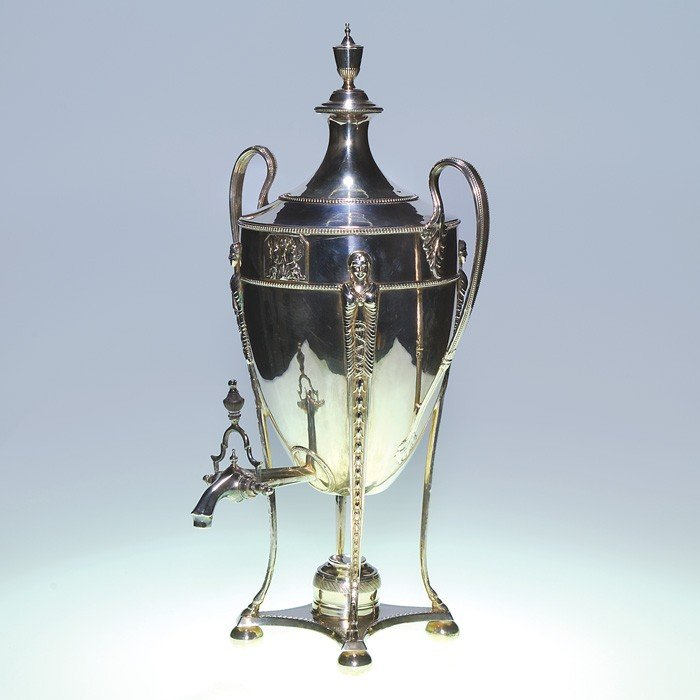 """526: Silver plated Hot Water Urn, 22"""", marked 970"""