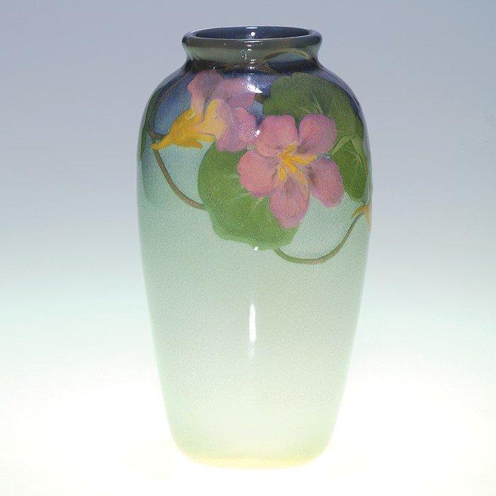 """1000: Rookwood Iris 7"""" vase, nasturtiums, Reed, 1902"""