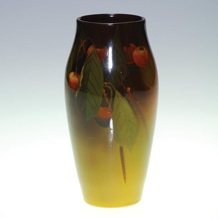 """1002: Rookwood Standard 6"""" vase, cherries, Schmidt, '98"""