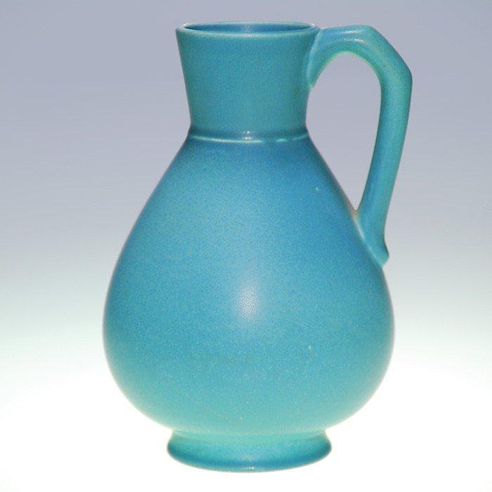 """1004: Rookwood blue mat 9"""" production pitcher, 1965"""