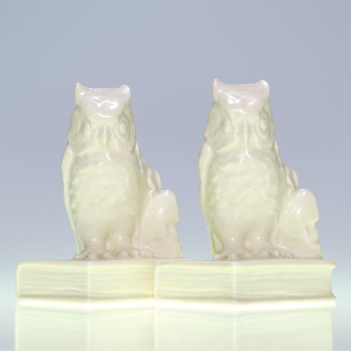 """1007: Rookwood pair Owl bookends, #2655, Ivory, 5 3/4"""""""