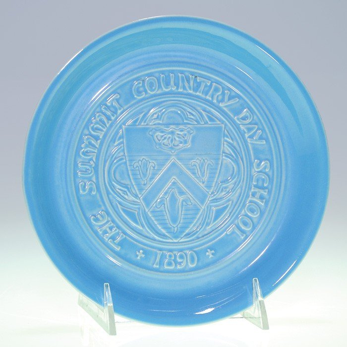"""1009: Rookwood blue """"Summit Country Day"""" ashtray, 1965"""