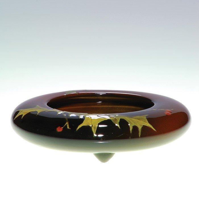 1011: Rookwood low bowl, holly, Sprague, ca 1889