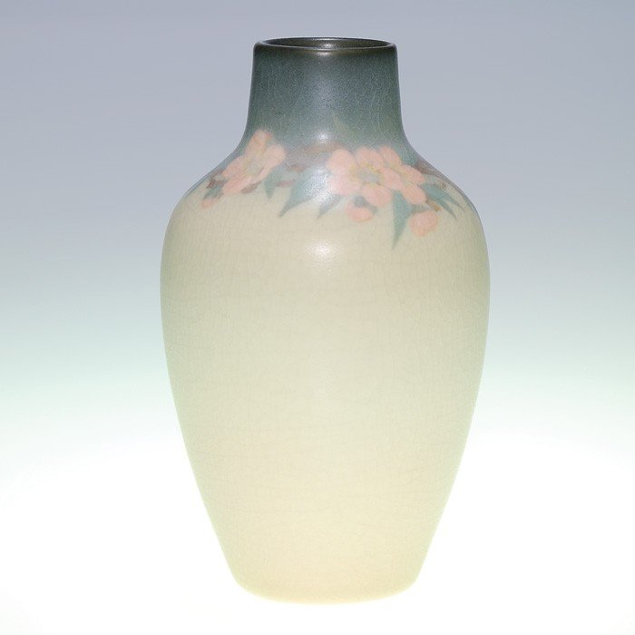 "1013: Rookwood Vellum 7"" vase, cherry blossoms, OGR"