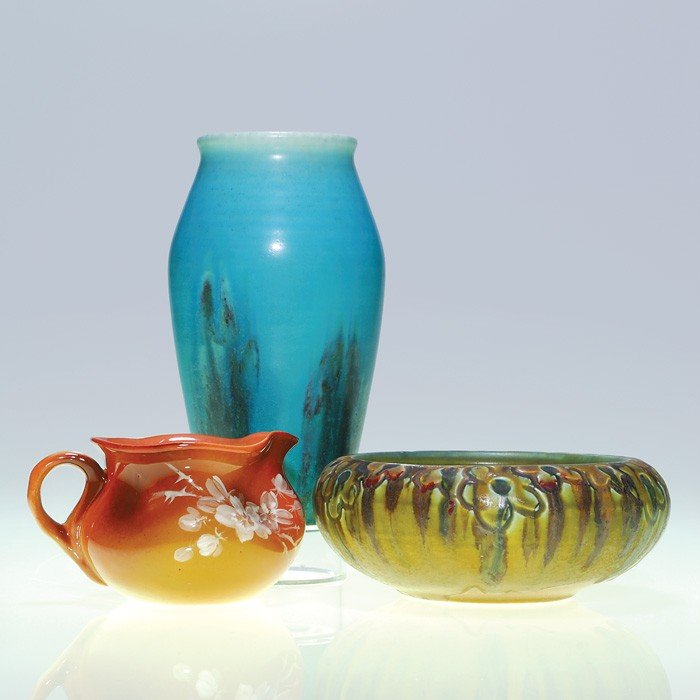 1016: 3 Rookwood items.  Vase, pitcher, bowl; issues.