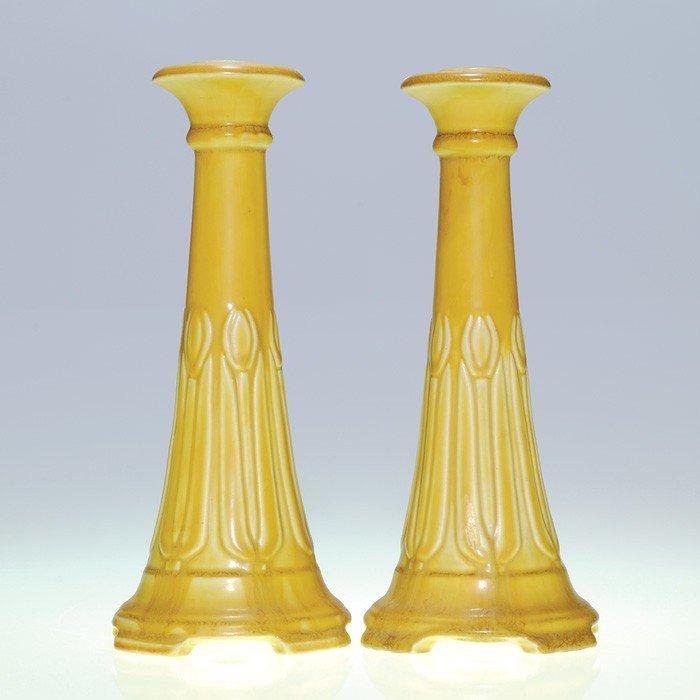 1017: Rookwood pair candlesticks, tulips, #1630, 1923