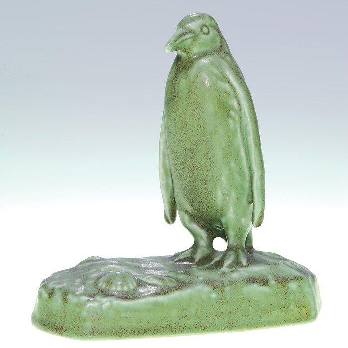 1023: Rookwood Penguin paperweight, mat green, 1924