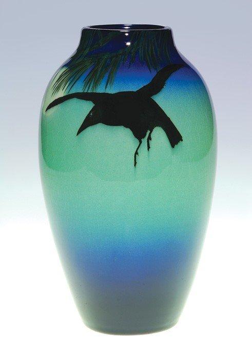 1285: Rookwood Dark Iris vase, Rook/full moon, Coyne