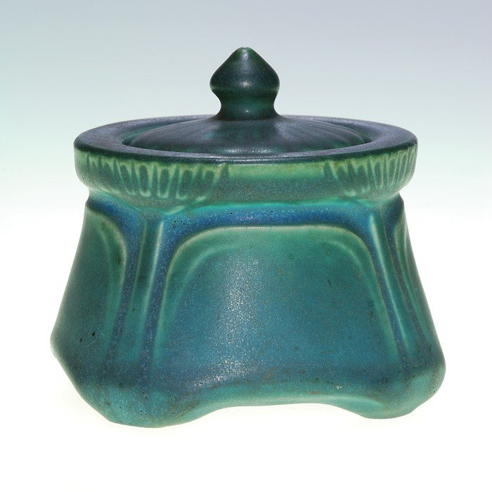 """1385: Rookwood inkwell, cup and lid, green-blue mat, 3"""""""