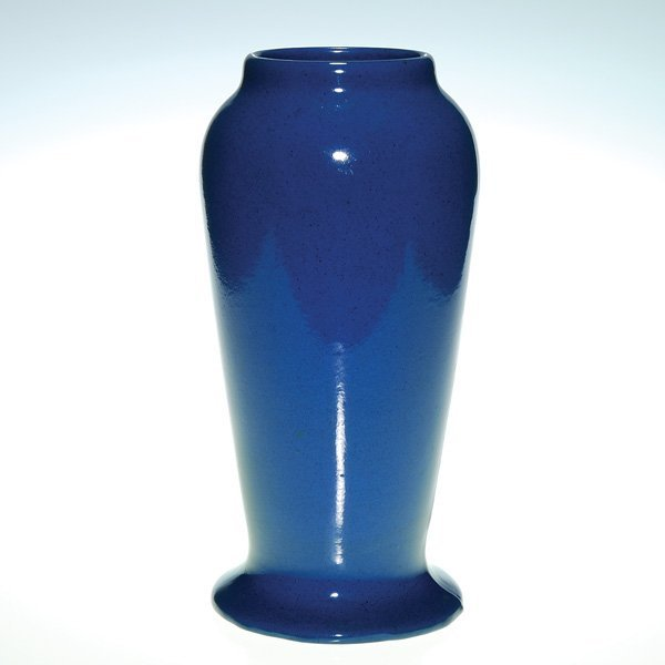 """0147: Peters & Reed """"Wilse Blue"""" vase, 11 3/4"""""""