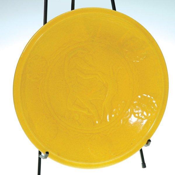 """0154: Cowan yellow 15 1/4"""" charger, """"Atlanta and Hound,"""