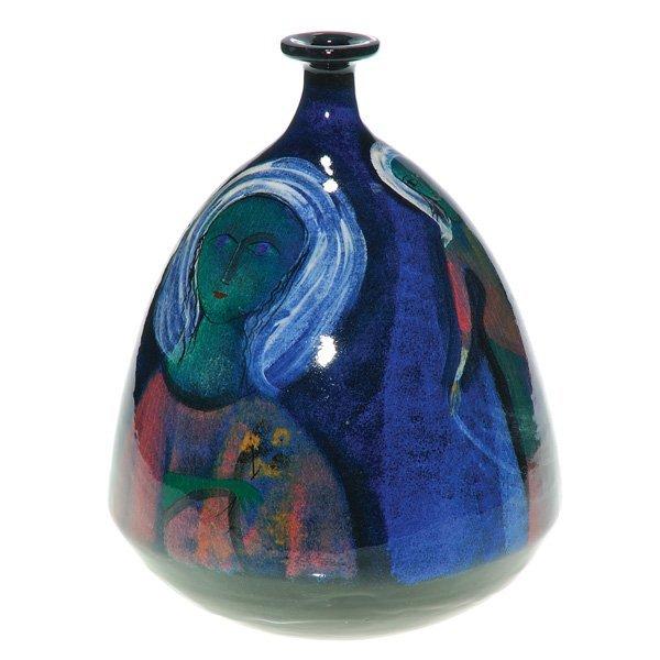 """0158: Pillin Pottery vase, beautiful women, 10 3/8"""""""