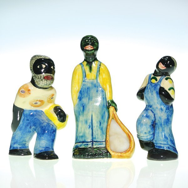 0163: 3 Shearwater polychrome African-American figures
