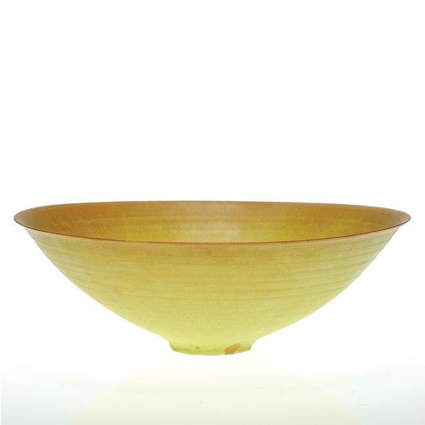 "0164: Natzler 3 3/4"" X 11 5/8"" bowl, yellow and brown"