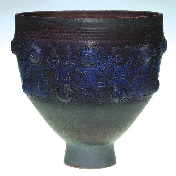 0166: Large Scheier bowl, purple,  human figurures