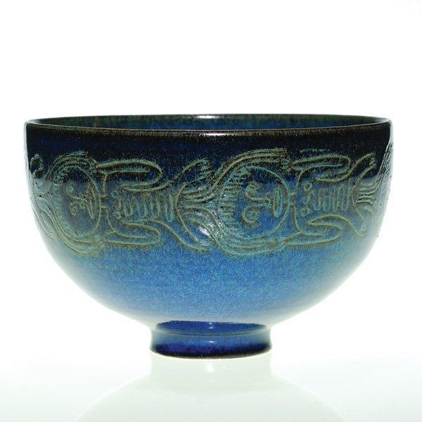 """0167: Scheier bowl, blue, human figures, 4 1/4"""" X 6 7/8"""