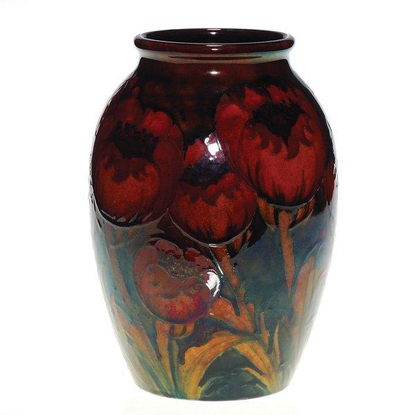 """0334: Moorcroft Big Poppy with Flambe' glaze, 9 3/8"""""""