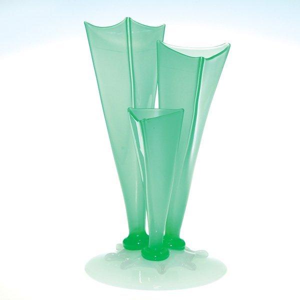 0504: Steuben 3 prong vase, green Jade & Alabaster, 10