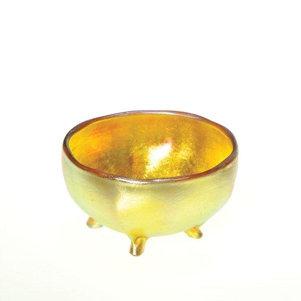 0564: Tiffany master salt, 4 pulled feet, ribs, signed