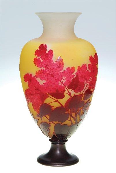 """0587: Galle vase, four color, lilacs, metal base, 19"""""""