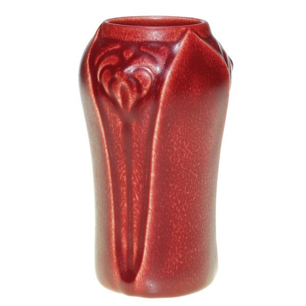 "1001: Rookwood red mat production 6 1/2"" vase, floral"