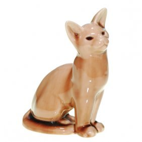 "1004: Rookwood 6 5/8"" Cat paperweight, 1945, brown"