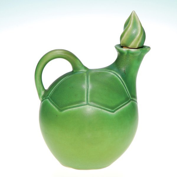 1008: Green mat Rookwood whiskey jug, hand incised, '06