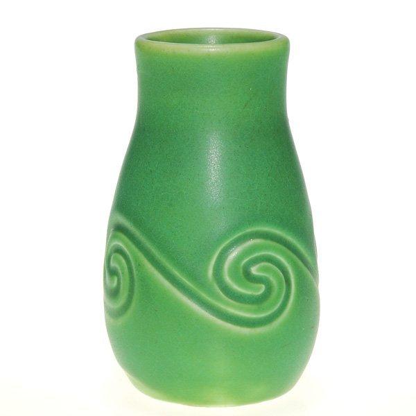 """1011: Rookwood mat green """"Z Glaze"""" 4 3/8"""" vase, 1904"""