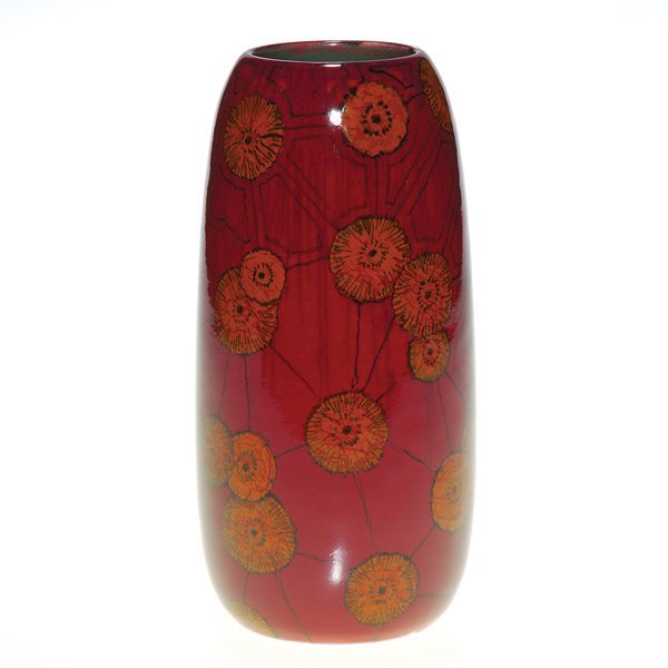 "1015: Rookwood French Red 6 1/2"" vase, Sara Sax, 1917"
