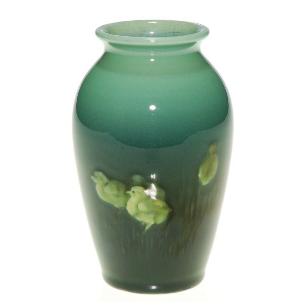 "1019: Rookwood Sea Green 4 1/2"" vase, chicks, Baker"