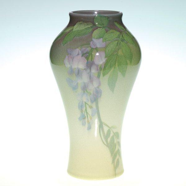 1020: Rookwood vase, Iris glaze, wisteria, Asbury, 1904