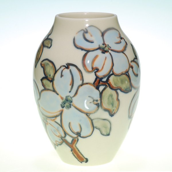 "1021: Rookwood Porcelain 7 3/8"" vase, dogwood, Barrett"