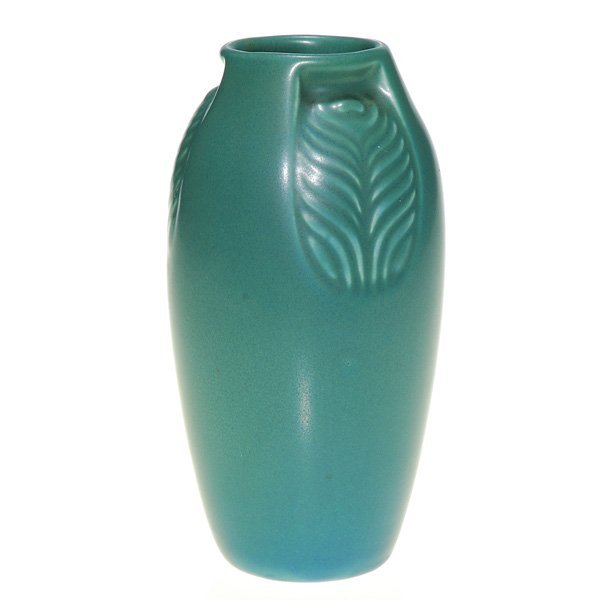 """1053: Rookwood gray-green mat """"Peacock Feather"""" 6"""" vase"""