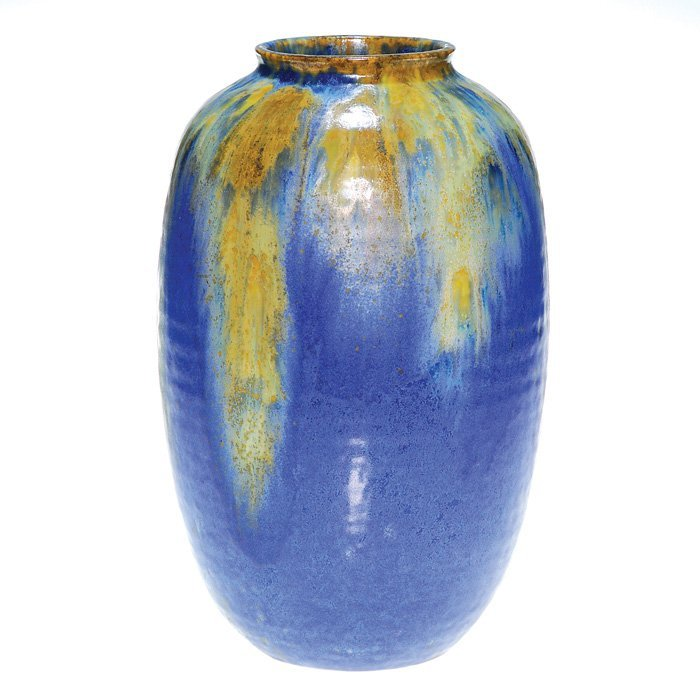 0001: Tall Roseville Imperial II vase, blue and yellow