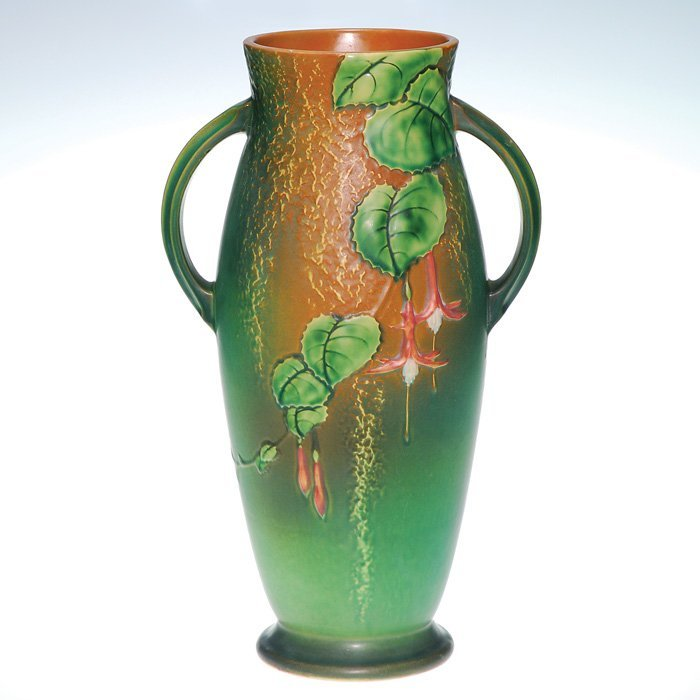 """0005: Roseville Fuchsia vase in green, #904-15"""""""