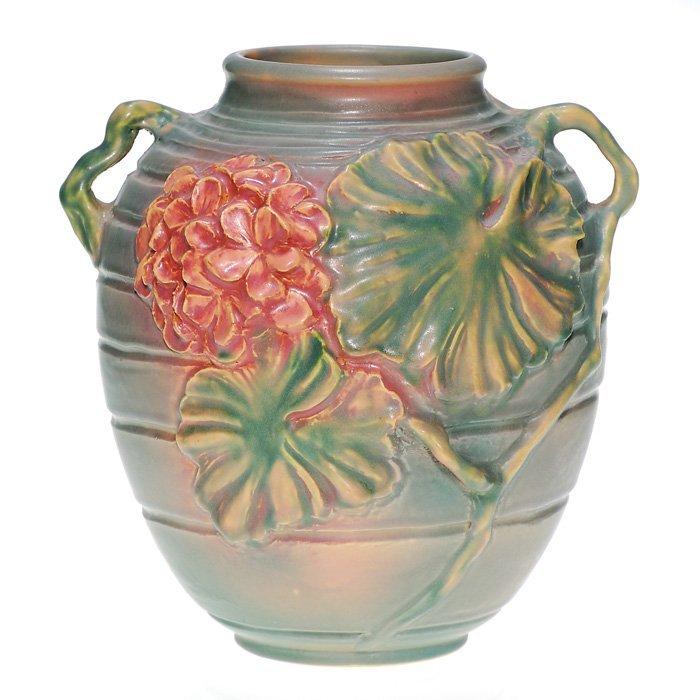"""0007: Roseville Experimental """"Geranium"""" 9"""" vase"""